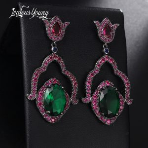 28689 74e8a4 300x300 - 2017 New Luxury Flower Bridal Drop Earrings For Wedding Red Green Oval Zircon Gothic Punk Rock Earings Fashion Jewelry AE520