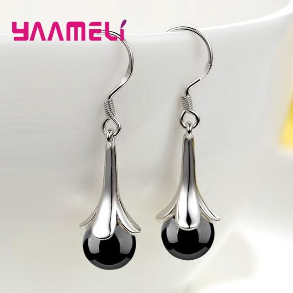 28716 2746a2 600x600 - Fantastic Precious Red Black Onyx Bead Drop Earring 100% 925 Sterling Silver French Hook Eardrop for Women Wedding Engagement