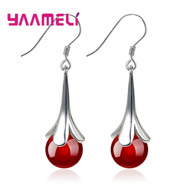 28716 35663a 600x600 - Fantastic Precious Red Black Onyx Bead Drop Earring 100% 925 Sterling Silver French Hook Eardrop for Women Wedding Engagement