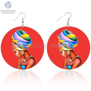 28749 391af1 300x300 - SOMESOOR AFRO Ethnic Headwrap Woman In Red Printing Wooden Drop Earrings Black Tribal Arts Pendant Dangle Jewelry For Women Gift