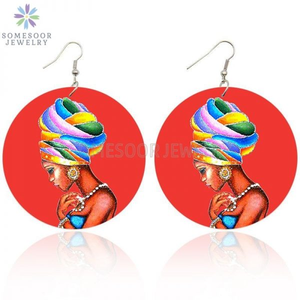 28749 391af1 600x600 - SOMESOOR AFRO Ethnic Headwrap Woman In Red Printing Wooden Drop Earrings Black Tribal Arts Pendant Dangle Jewelry For Women Gift