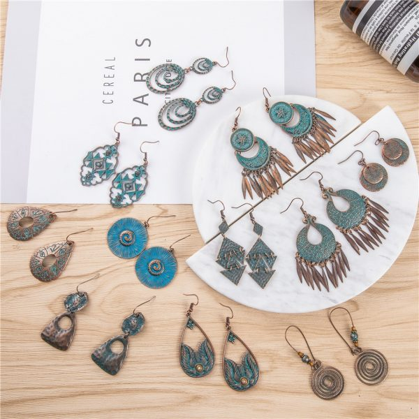 28850 0e3c88 600x600 - 24 Styles Ancient Red Copper Color Bohemian Filigree Earring Boho Vintage Ethnic Hollow Geometric Drop Earrings for women Jewely