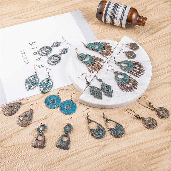 28850 4ea177 600x600 - 24 Styles Ancient Red Copper Color Bohemian Filigree Earring Boho Vintage Ethnic Hollow Geometric Drop Earrings for women Jewely