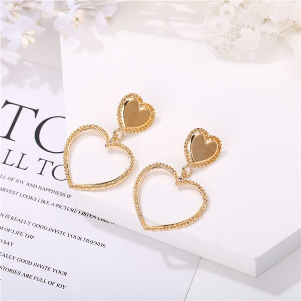28900 03f392 600x600 - IF YOU Vintage Bohemia Gold Red Heart Earrings For Women Metal Round Dangle Drop Earrings Brincos Jewelry Party 2019 New Design
