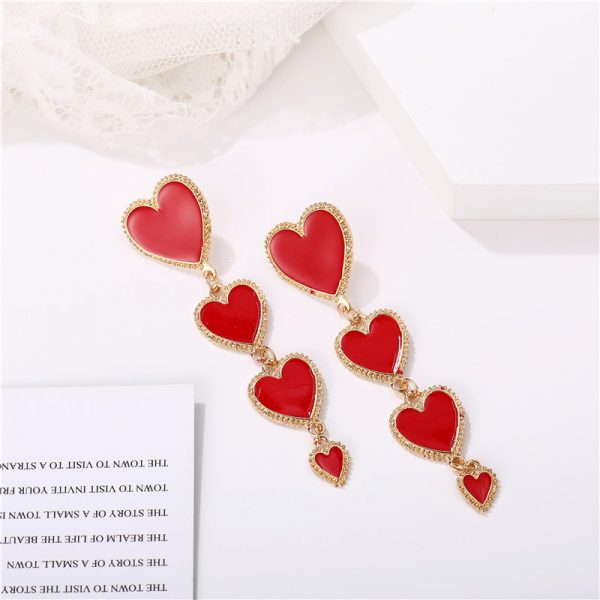 28900 7c47c7 600x600 - IF YOU Vintage Bohemia Gold Red Heart Earrings For Women Metal Round Dangle Drop Earrings Brincos Jewelry Party 2019 New Design