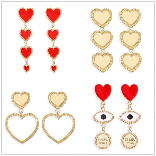 28900 9f95ec 600x600 - IF YOU Vintage Bohemia Gold Red Heart Earrings For Women Metal Round Dangle Drop Earrings Brincos Jewelry Party 2019 New Design