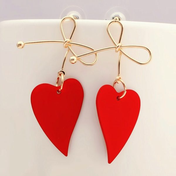 29289 08d816 600x600 - Fashion Gold Color Heart Geometric Drop Earring for Women Brincos Vintage Red Green Yellow Earring 2019 Irregular Korean Jewelry