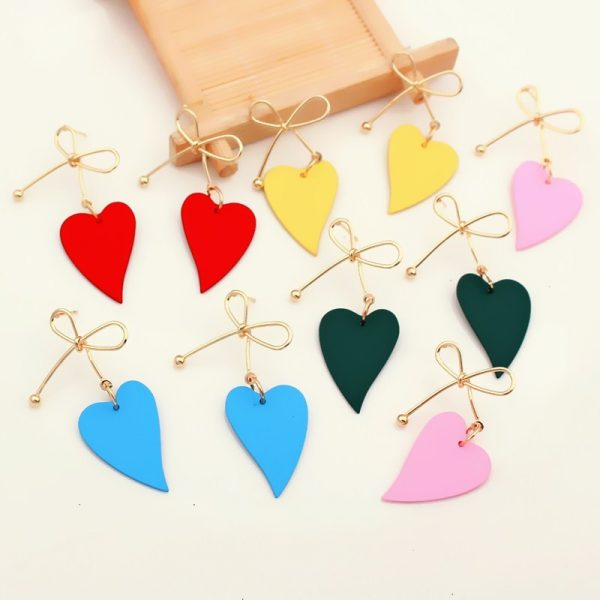 29289 a421d2 600x600 - Fashion Gold Color Heart Geometric Drop Earring for Women Brincos Vintage Red Green Yellow Earring 2019 Irregular Korean Jewelry