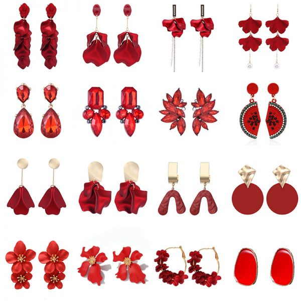 29371 1f5a18 600x600 - 2019 New Vintage Exaggerate Red Acrylic Petal Tassel Statement Drop Earrings For Women Girls Wedding Ear Accessories Brincos