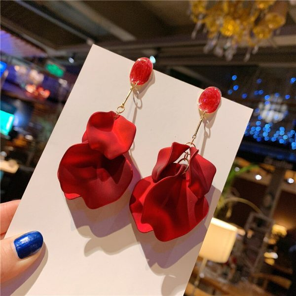 29371 d0e87d 600x600 - 2019 New Vintage Exaggerate Red Acrylic Petal Tassel Statement Drop Earrings For Women Girls Wedding Ear Accessories Brincos