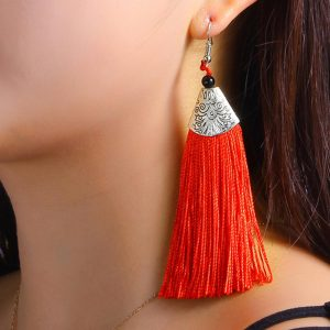 29416 17df93 300x300 - QTWINDY Bohemian Tassel Alloy Long Drop Earrings for Women Red Cotton Silk Fabric Fringe Earrings 2019 Fashion Woman Jewelry