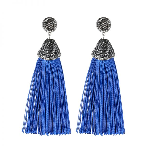 29599 12d70b 600x600 - Handmade 14 Colors Long Tassel Earrings Bohemian Black Red Pink White Blue Silk Crystal Dangle Drop Earrings For Women Jewelry
