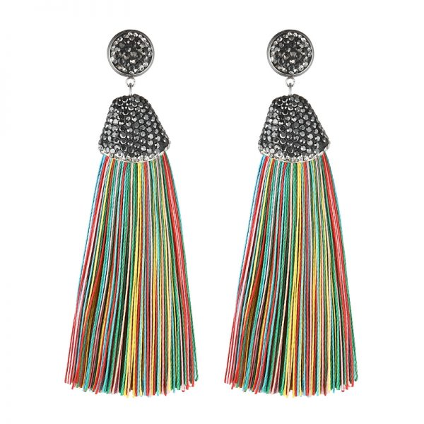 29599 301bb9 600x600 - Handmade 14 Colors Long Tassel Earrings Bohemian Black Red Pink White Blue Silk Crystal Dangle Drop Earrings For Women Jewelry