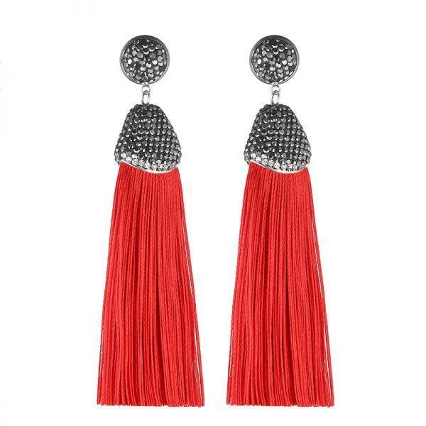 29599 4eb903 600x600 - Handmade 14 Colors Long Tassel Earrings Bohemian Black Red Pink White Blue Silk Crystal Dangle Drop Earrings For Women Jewelry