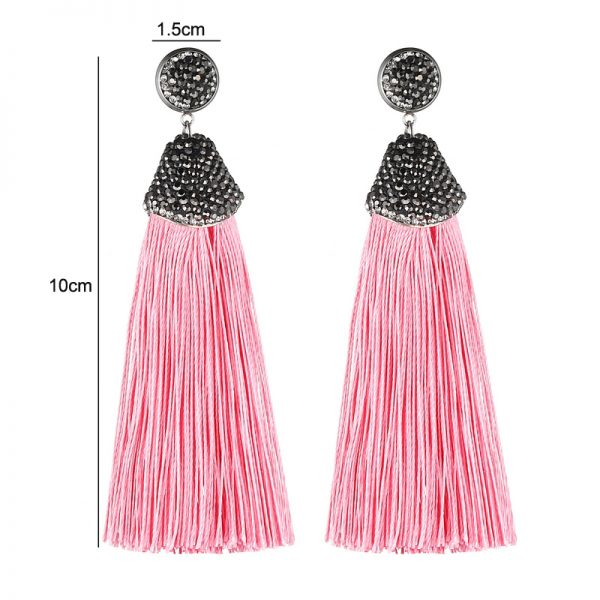 29599 7e421e 600x600 - Handmade 14 Colors Long Tassel Earrings Bohemian Black Red Pink White Blue Silk Crystal Dangle Drop Earrings For Women Jewelry