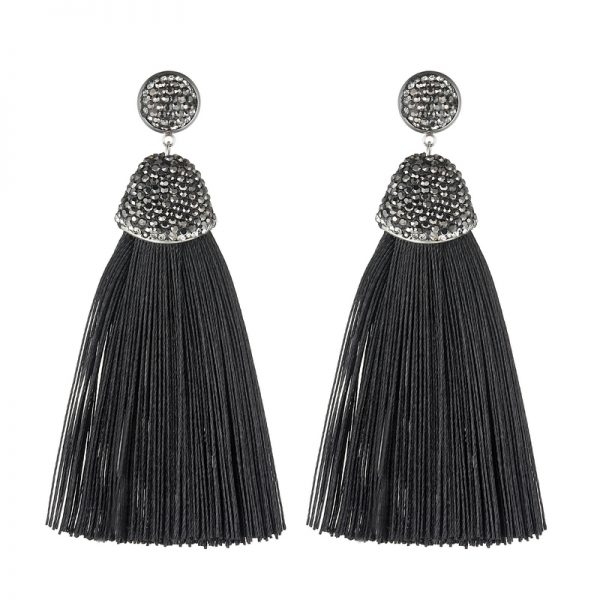 29599 88756b 600x600 - Handmade 14 Colors Long Tassel Earrings Bohemian Black Red Pink White Blue Silk Crystal Dangle Drop Earrings For Women Jewelry