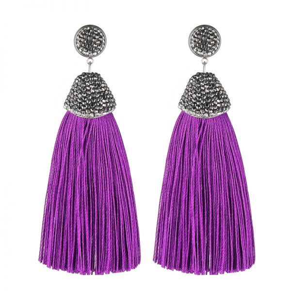 29599 d6a7b6 600x600 - Handmade 14 Colors Long Tassel Earrings Bohemian Black Red Pink White Blue Silk Crystal Dangle Drop Earrings For Women Jewelry
