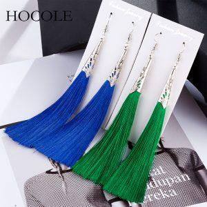 29679 d75be0 300x300 - 2018 Bohemian Geometric Alloy Charm Tassel Earring Red Blue 9 Colors Fringed Long Drop Brincos For Women Wedding Bridal Jewelry