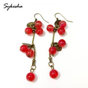 29797 0aaf19 300x300 - 2019 Retro National Fashion Vintage Beautiful Hook Red Berries Dangle Earrings Female Ball Tassel Drop Earrings