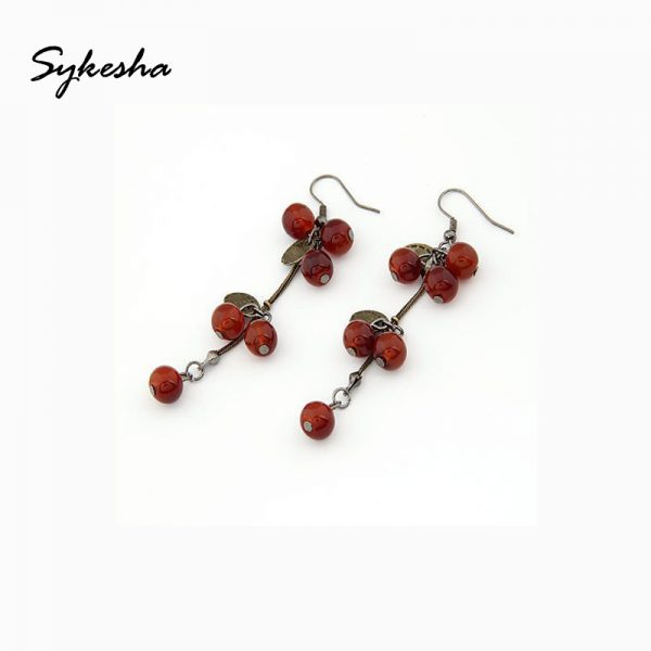 29797 628e50 600x600 - 2019 Retro National Fashion Vintage Beautiful Hook Red Berries Dangle Earrings Female Ball Tassel Drop Earrings