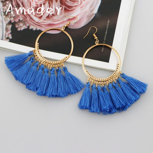 29893 157565 600x600 - Vintage Bohemian Tassel Big Drop Earrings for Women Fashion Jewelry Earrings Red Black Cotton Silk Fabric Fringe Earring Gift