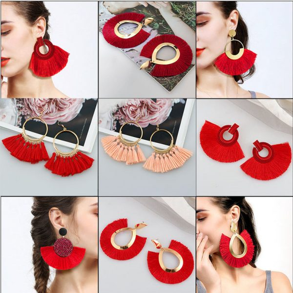 29893 3c91d6 600x599 - Vintage Bohemian Tassel Big Drop Earrings for Women Fashion Jewelry Earrings Red Black Cotton Silk Fabric Fringe Earring Gift