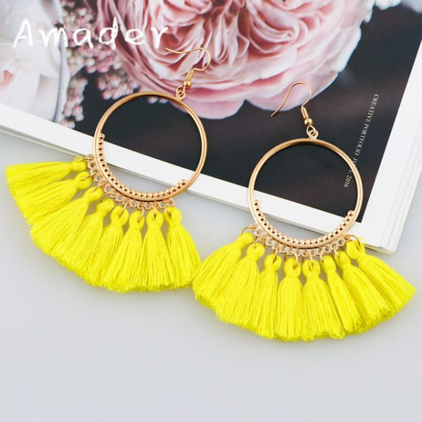29893 4fa50e 600x600 - Vintage Bohemian Tassel Big Drop Earrings for Women Fashion Jewelry Earrings Red Black Cotton Silk Fabric Fringe Earring Gift