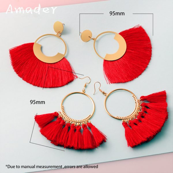 29893 827b5f 600x600 - Vintage Bohemian Tassel Big Drop Earrings for Women Fashion Jewelry Earrings Red Black Cotton Silk Fabric Fringe Earring Gift
