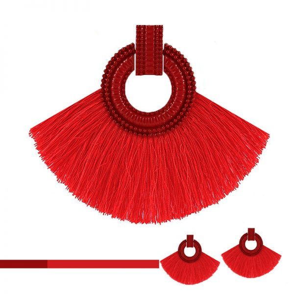 29893 f8fea9 600x600 - Vintage Bohemian Tassel Big Drop Earrings for Women Fashion Jewelry Earrings Red Black Cotton Silk Fabric Fringe Earring Gift