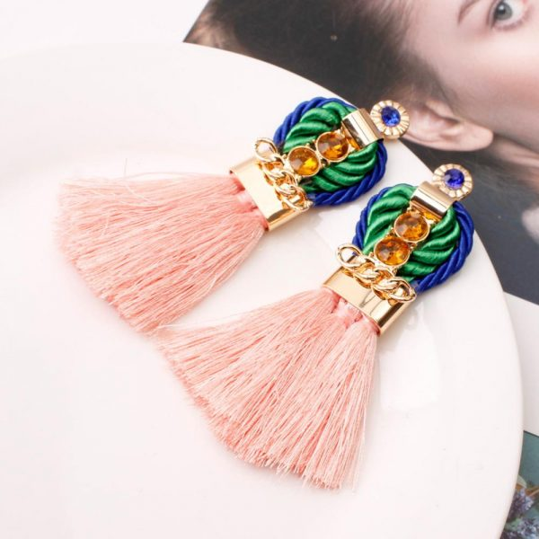 29963 04079f 600x600 - Ethnic Statement Bohemian Crystal Chain Red Tassel Earrings For Women Long Fringed Vintage Drop Dangle Wedding Hanging Earring