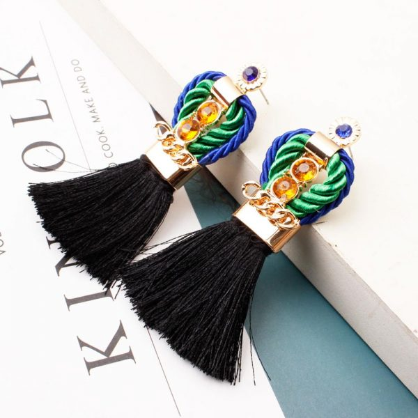 29963 b80765 600x600 - Ethnic Statement Bohemian Crystal Chain Red Tassel Earrings For Women Long Fringed Vintage Drop Dangle Wedding Hanging Earring