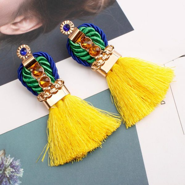 29963 be490e 600x600 - Ethnic Statement Bohemian Crystal Chain Red Tassel Earrings For Women Long Fringed Vintage Drop Dangle Wedding Hanging Earring