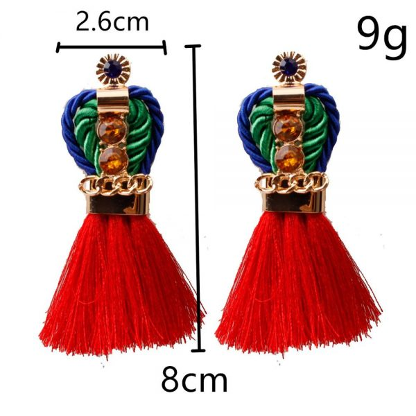 29963 d2b128 600x600 - Ethnic Statement Bohemian Crystal Chain Red Tassel Earrings For Women Long Fringed Vintage Drop Dangle Wedding Hanging Earring