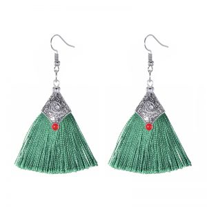 29985 45d50a 300x300 - Fashion Silk Fabric Tassel Earrings Bhoemian Fringed Red Blue Black Pink Green Vintage Statement Drop Dangle Earrings For Women