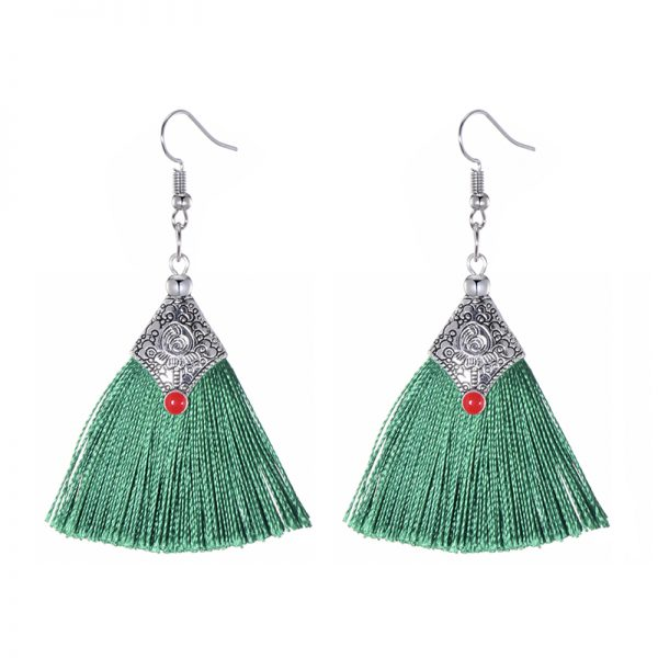 29985 45d50a 600x600 - Fashion Silk Fabric Tassel Earrings Bhoemian Fringed Red Blue Black Pink Green Vintage Statement Drop Dangle Earrings For Women