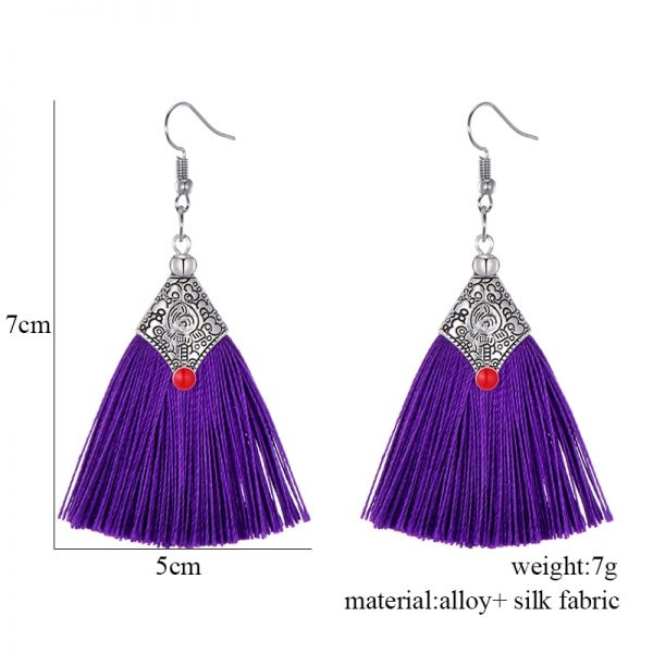 29985 536360 600x600 - Fashion Silk Fabric Tassel Earrings Bhoemian Fringed Red Blue Black Pink Green Vintage Statement Drop Dangle Earrings For Women