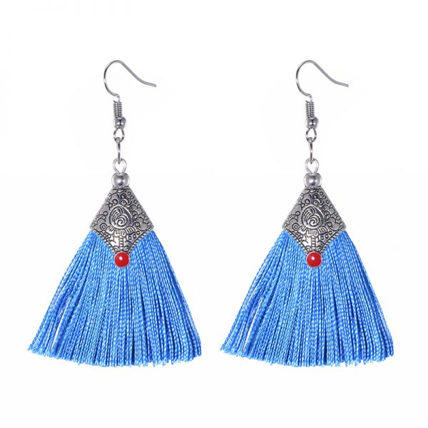 29985 951016 600x600 - Fashion Silk Fabric Tassel Earrings Bhoemian Fringed Red Blue Black Pink Green Vintage Statement Drop Dangle Earrings For Women