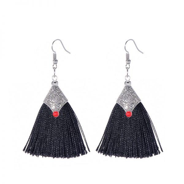 29985 95ed88 600x600 - Fashion Silk Fabric Tassel Earrings Bhoemian Fringed Red Blue Black Pink Green Vintage Statement Drop Dangle Earrings For Women