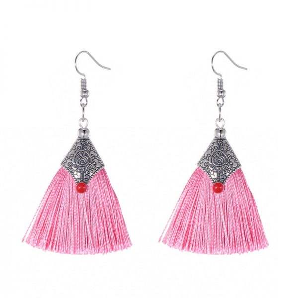 29985 db7c54 600x600 - Fashion Silk Fabric Tassel Earrings Bhoemian Fringed Red Blue Black Pink Green Vintage Statement Drop Dangle Earrings For Women