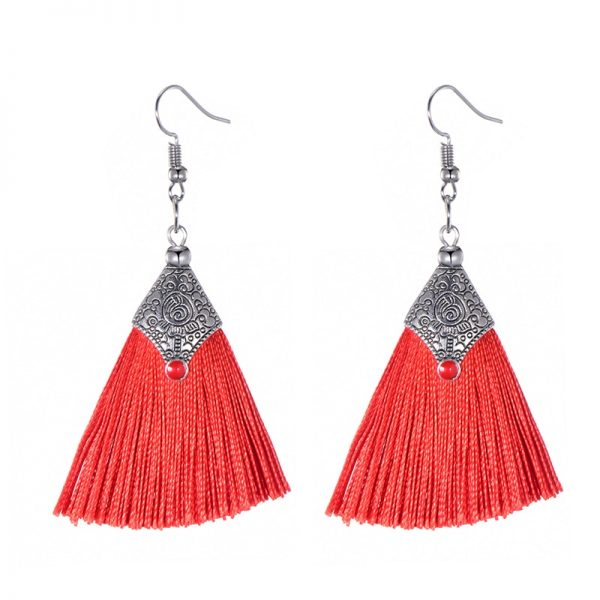 29985 e05aac 600x600 - Fashion Silk Fabric Tassel Earrings Bhoemian Fringed Red Blue Black Pink Green Vintage Statement Drop Dangle Earrings For Women