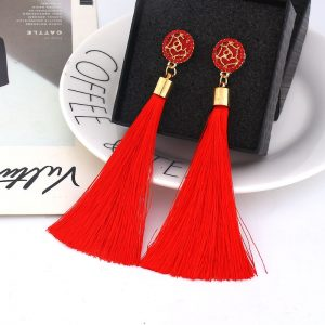 30057 cdd428 300x300 - Fashion Bohemian Tassel Crystal Long Earrings White Red Silk Fabric Drop Dangle Tassel Earrings For Women 2019 Jewelry
