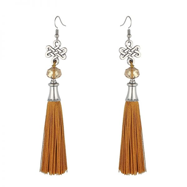 30156 2f4a5b 600x600 - New Fashion Bohemian Tassel Crystal Beads Long Earrings For Women Black Red Blue Silk Fabric Drop Dangle Earrings 2019 Jewelry