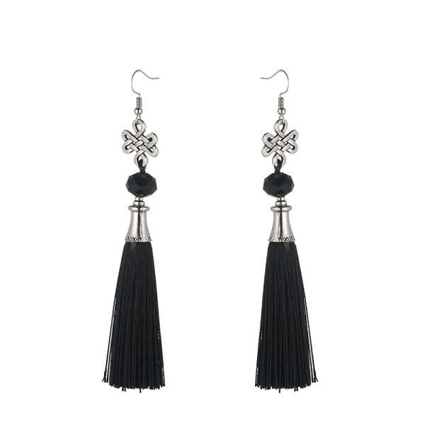 30156 32ad58 600x600 - New Fashion Bohemian Tassel Crystal Beads Long Earrings For Women Black Red Blue Silk Fabric Drop Dangle Earrings 2019 Jewelry