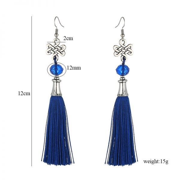 30156 9e056c 600x600 - New Fashion Bohemian Tassel Crystal Beads Long Earrings For Women Black Red Blue Silk Fabric Drop Dangle Earrings 2019 Jewelry