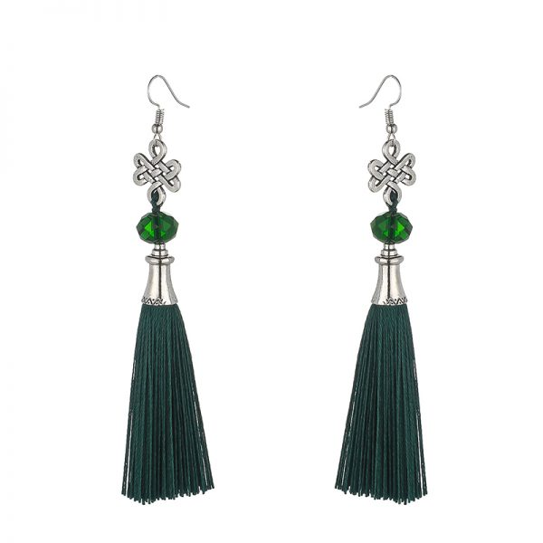 30156 f0aca1 600x600 - New Fashion Bohemian Tassel Crystal Beads Long Earrings For Women Black Red Blue Silk Fabric Drop Dangle Earrings 2019 Jewelry