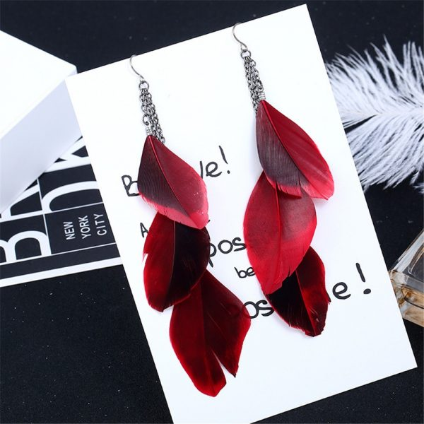 30201 017109 600x600 - SexeMara Fashion Jewelry Earrings Ear Hook Antique Silver Color Chain Red Feather Tassel Earring for Women Trendy Hyperbole Gift