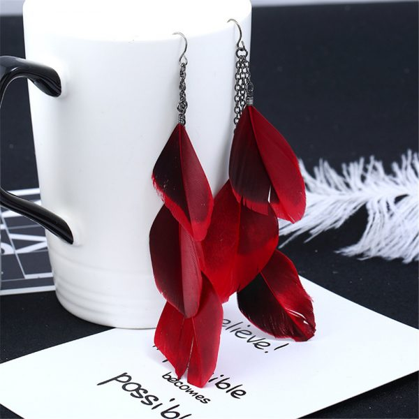 30201 6a0fb9 600x600 - SexeMara Fashion Jewelry Earrings Ear Hook Antique Silver Color Chain Red Feather Tassel Earring for Women Trendy Hyperbole Gift