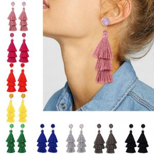 30263 8449dc 300x300 - HOCOLE Bohemia Multi-layer Long Tassel Earrings Red Blue Yellow Handmade Fringed Drop Earrings For Women Wedding Jewelry Brincos