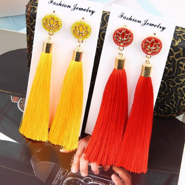 30287 6ad76c 600x600 - Bohemia Crystal Flower Tassel Earrings Handmade Red Blue Fringed Long Drop Earrings boucle d'oreille For Women Girl 2019 Jewelry