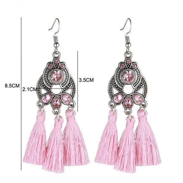 30322 1d1bae 600x600 - LOVBEAFAS Bohemian Crystal Tassel Earrings Black White Blue Red Pink Silk Fabric Long Drop Tassel Earrings For Women Jewelry